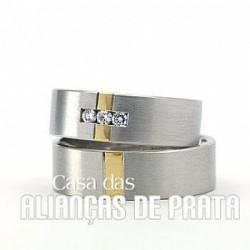 ALIANÇA DE PRATA 950 PARA COMPROMISSO
